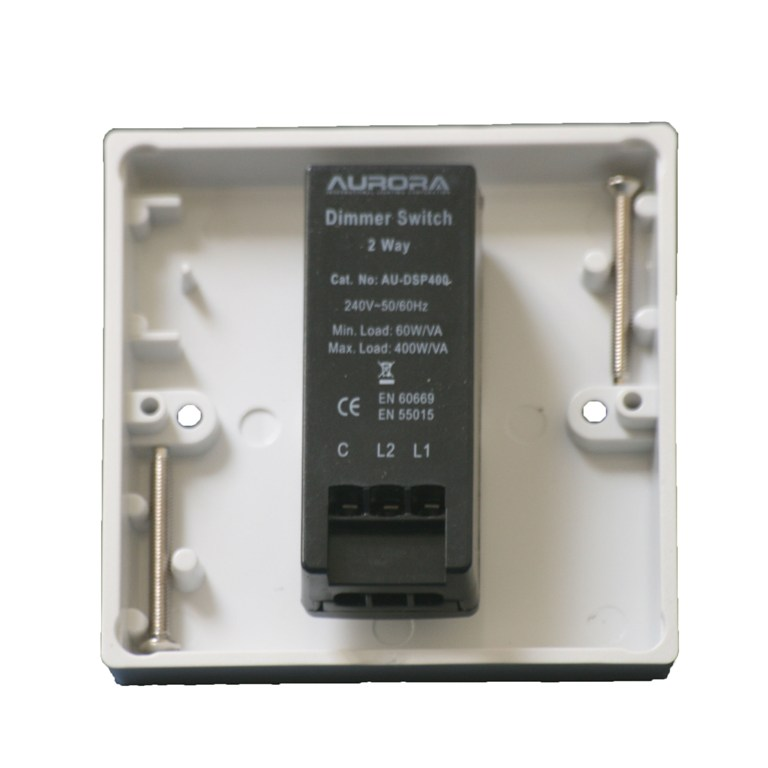 Dimmer Switch 1 Gang 2 Way Rotary Control 400w 400va Push